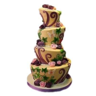 Topsy Turvy cake in gold and purple