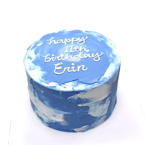Birthday cake blue and white