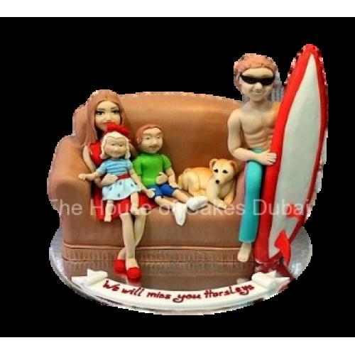 Family on sofa cake
