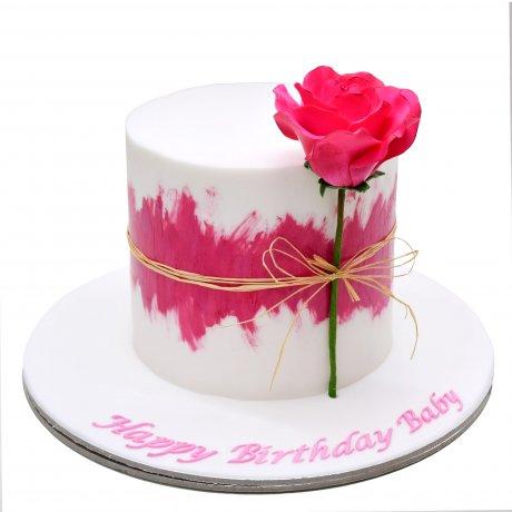 One rose cake pink