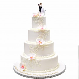 5 tier wedding cake with orchids and topper