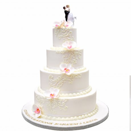 5 tier wedding cake with orchids and topper 6