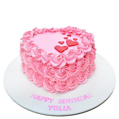 Hearts and rosettes cake