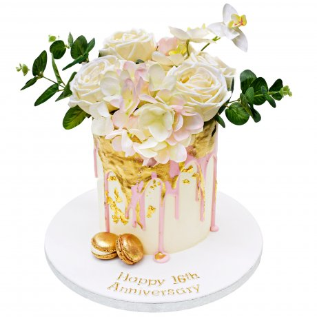 Modern Happy Birthday Cake with roses