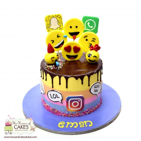 emoji and social media theme cake 6