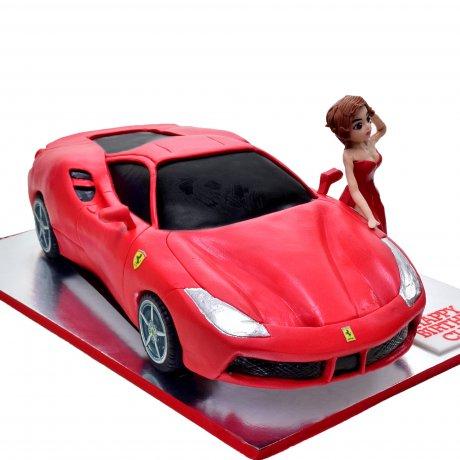 ferrari and pretty lady cake 7