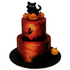 Halloween Cake  with black cat and witch