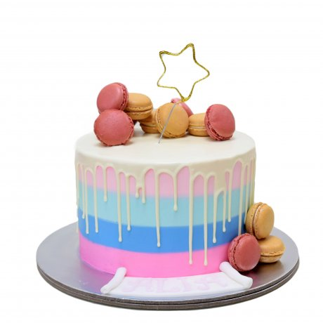 Blue pink stripes drip and macaroons cake