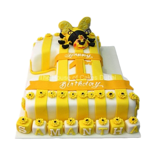 first birthday cake with bee 7