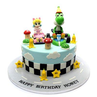 Super Mario Cake with Princess Peach and Yoshi