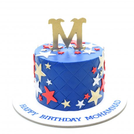 Cake with letter and stars-blue