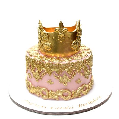 Pink and gold crown cake