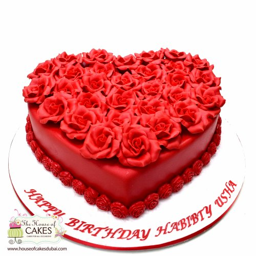 Heart Cake with red roses