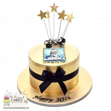 golden cake with photo 6