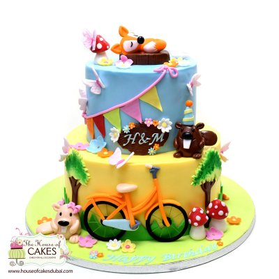 Forest animals and bike cake