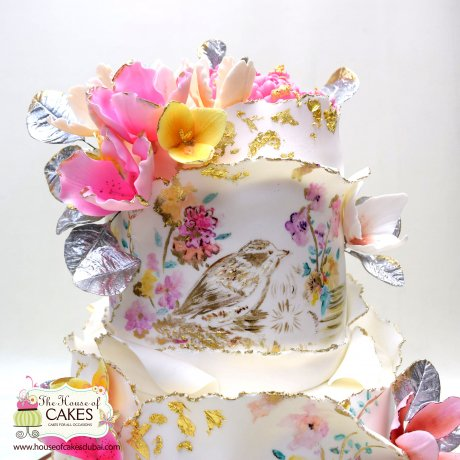 artistic cake with birds and flowers 8