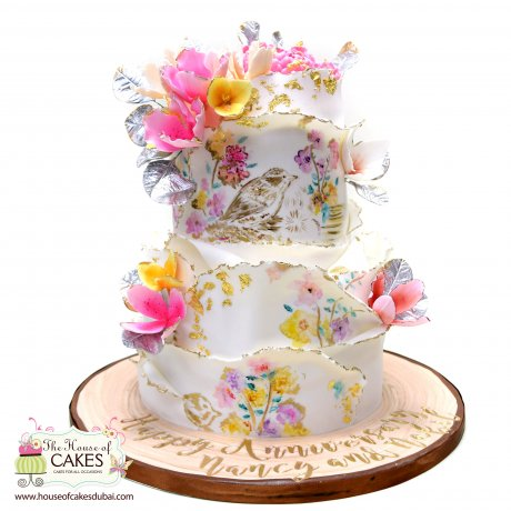 artistic cake with birds and flowers 7