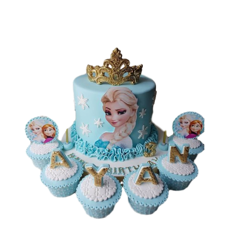 anna and elsa cake and cupcakes 6