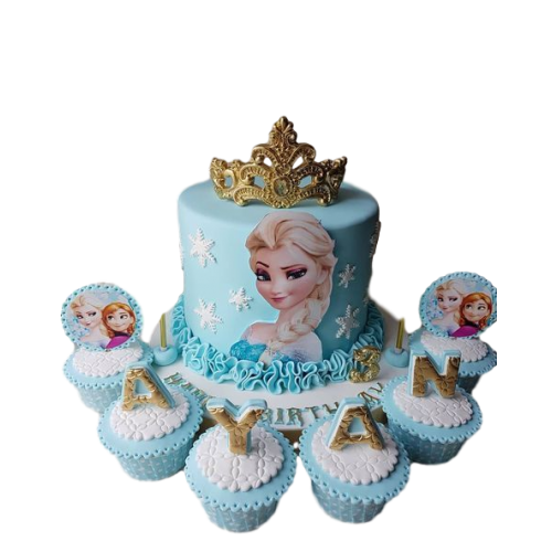 anna and elsa cake and cupcakes 7
