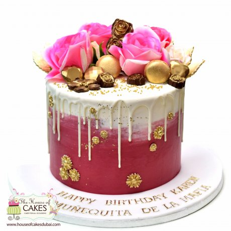 Chocolates and roses drip cake