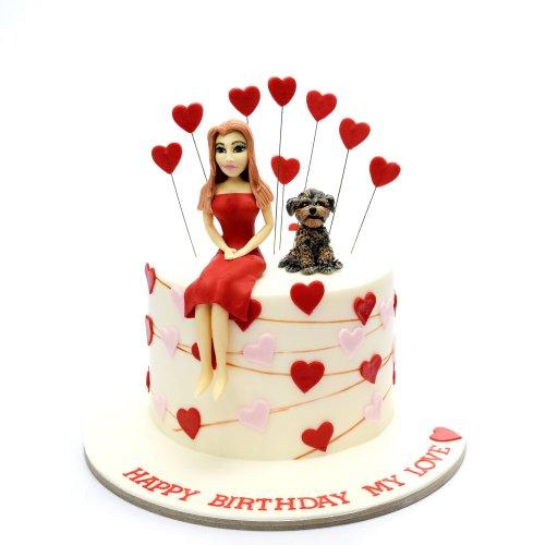 Lady and dog cake 2