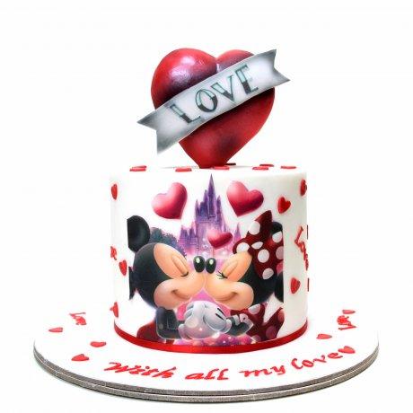 love heart mickey minnie cake 6