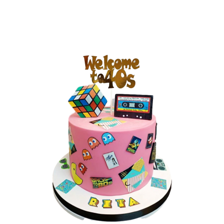 80's theme cake 6