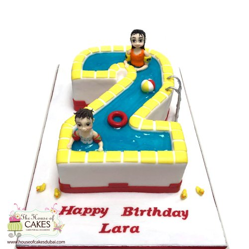 Swimming pool theme cake