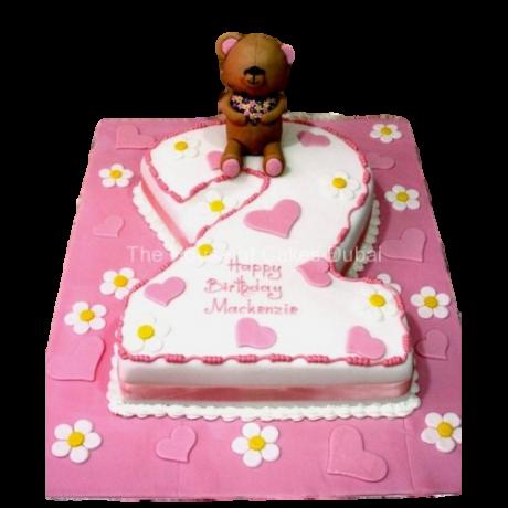 2nd birthday cake with teddy bear