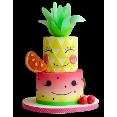 Watermelon and pineapple cake