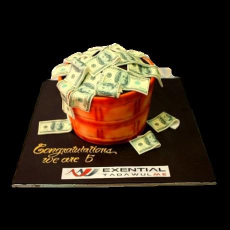 basket cake full with money 6