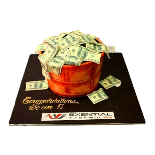 basket cake full with money 7