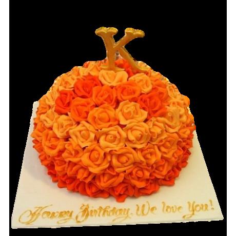 Cake with orange roses