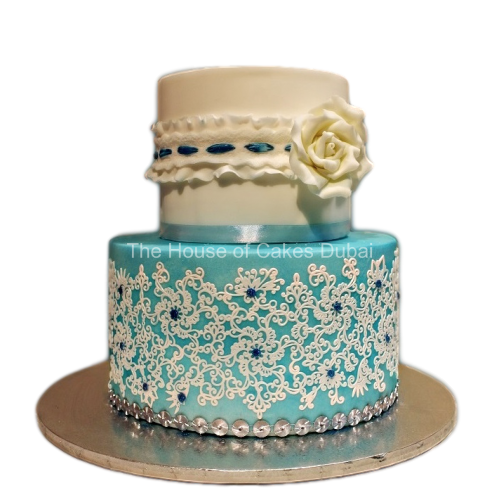 cake bella with lace and rose 7