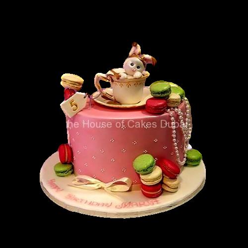 bunny cake with macarons 7