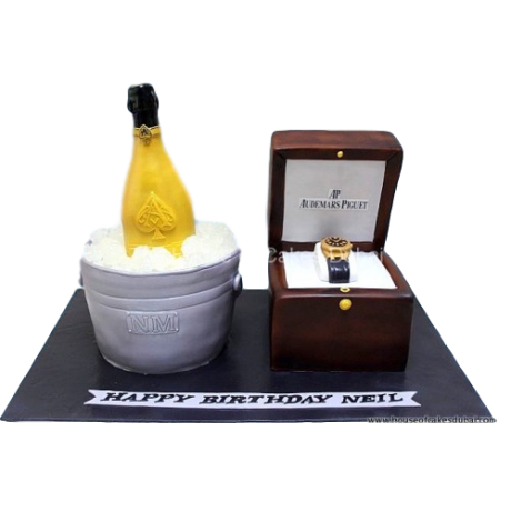 champagne and watch cake 6