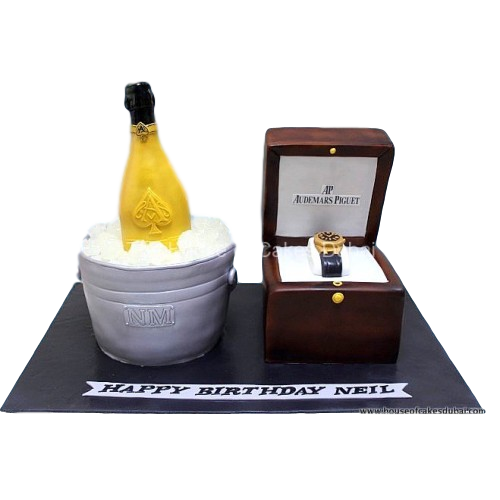 champagne and watch cake 7