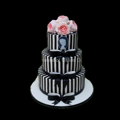Elegant black and white stripes cake
