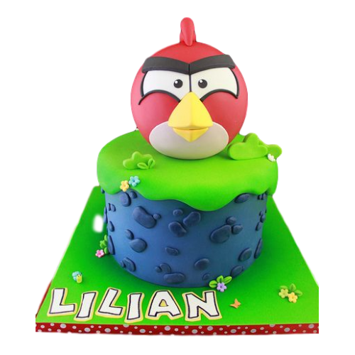 angry bird cake - red 8