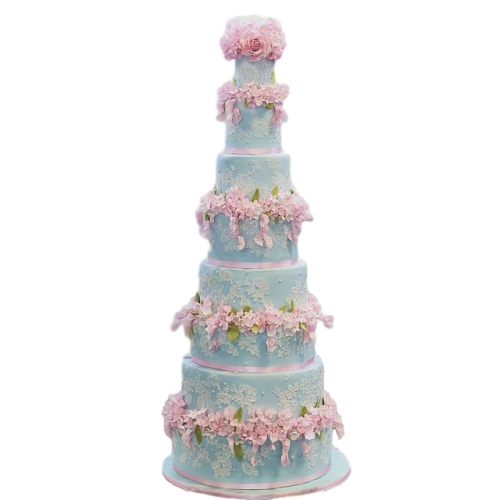 blue and pink wedding cake with lace 7