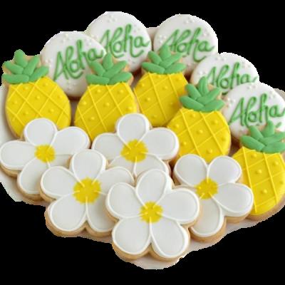 Pineapple Flower Aloha Shape Cookies