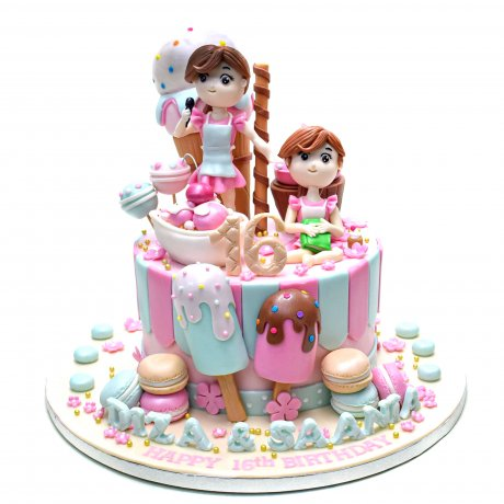 Cutest Cake with macarons, ice creams and candies