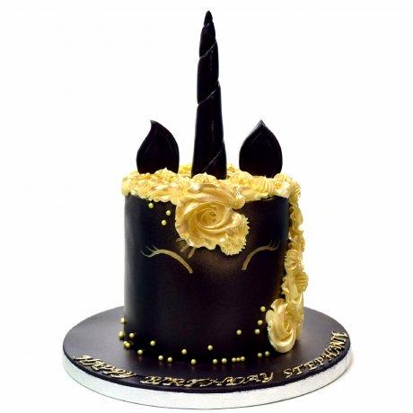 Unicorn Cake - black and gold