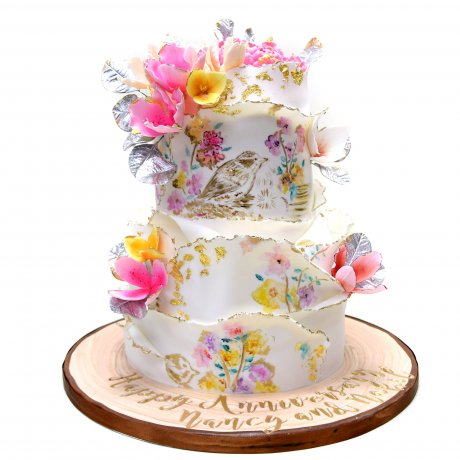 artistic cake with birds and flowers 6