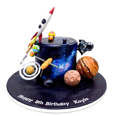 Spaceship Galaxy planets cosmos themed cake