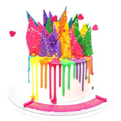 Colourful summer theme drip cake