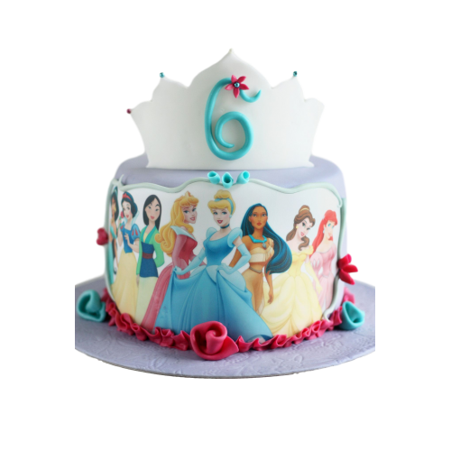 round cake with princesses picture 7