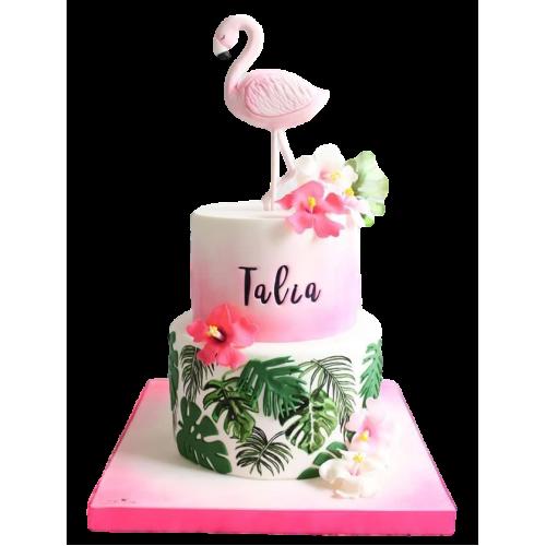 Hawaiian tropical flamingo cake 8