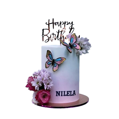 Flowers and butterflies cake 3