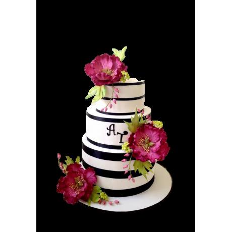 elegant cake with peonies 3 6